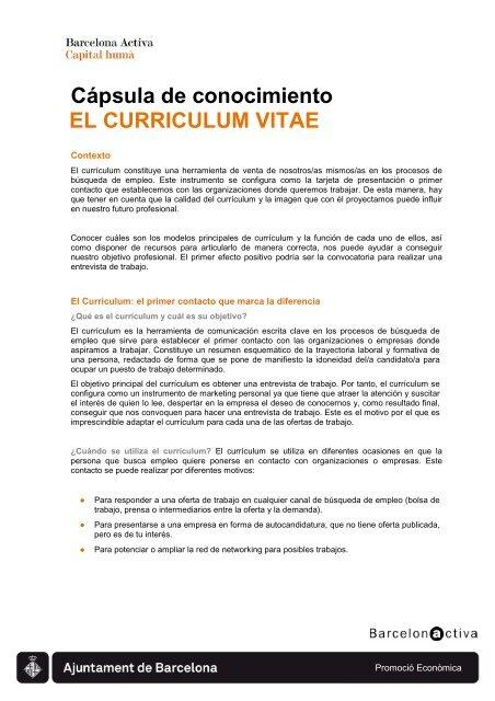 El Curriculum Vitae Barcelona Activa