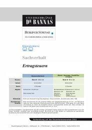 Sachverhalt - Steuerlehrgänge Dr. Bannas