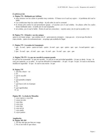 las respuestas para los ejercicios del capítulo #14