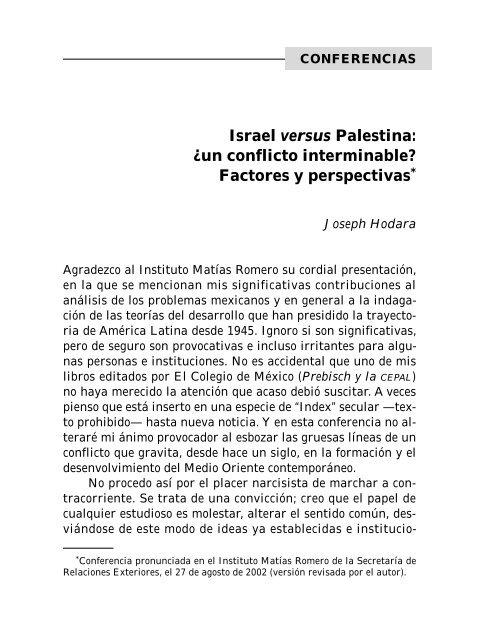 Israel versus Palestina: ¿un conflicto interminable? - Secretaría de ...