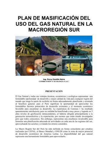 plan de masificación del uso del gas natural en la macroregión sur