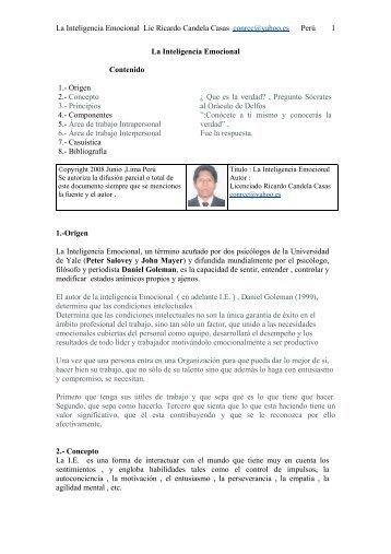 La Inteligencia Emocional Lic Ricardo Candela ... - Monografias.com