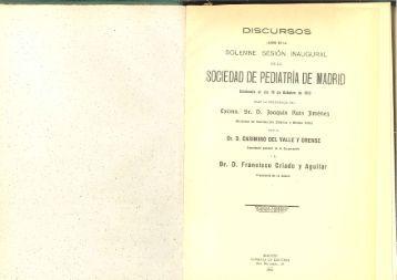 Sesión Inaugural SPM 1913 - Asociación Española de Pediatría