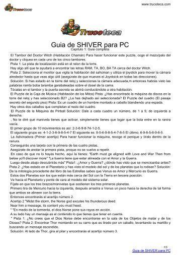 Guia de SHIVER para PC - Trucoteca.com