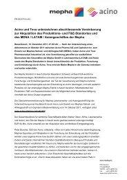 Acino und Teva unterzeichnen abschliessende Vereinbarung zur ...