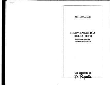 Michel Foucault Hermenéutica del sujeto