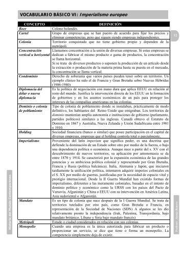 VOCABULARIO BÁSICO VI: Imperialismo europeo - Juanjo Romero