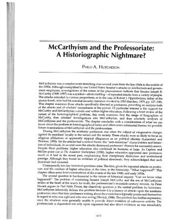 McCarthyism and the Professoriate: A Historiographic Nightmare?