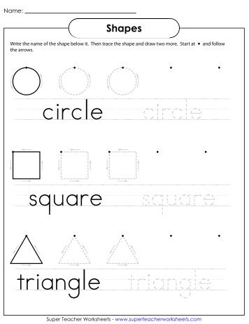 Trace \u0026 Write Shapes - Super Teacher Worksheets