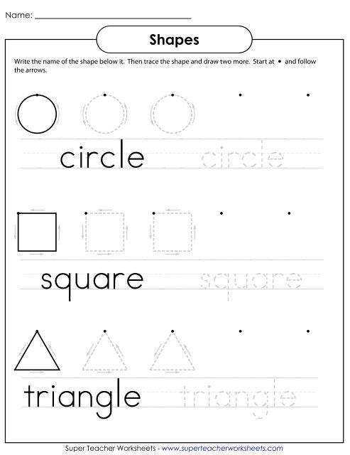 Trace & Write Shapes - Super Teacher Worksheets