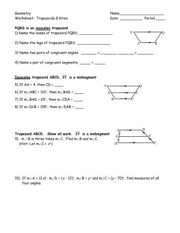 6-6 Problem Solving Properties of Kites and Trapezoids - TeacherWeb