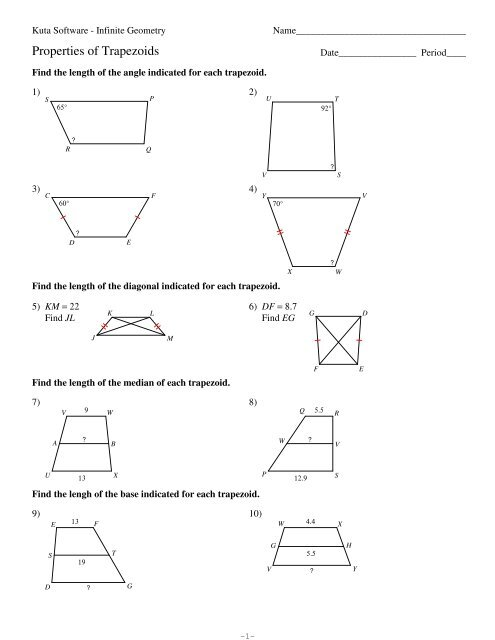 6-Properties of Trapezoids - Kuta Software