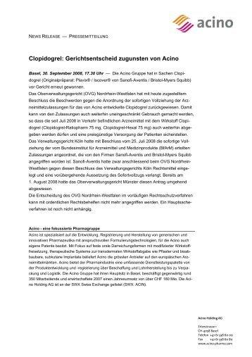 Clopidogrel: Gerichtsentscheid zugunsten von Acino