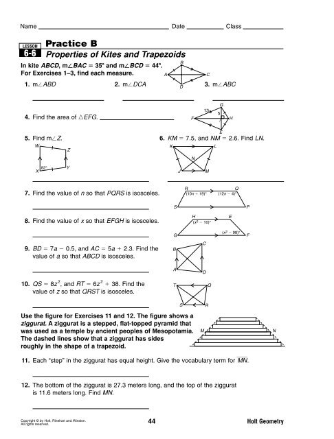 Holt Mcdougal Geometry Answer Key Skill 70 Pdf ...