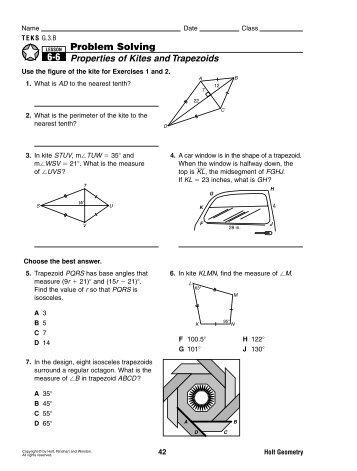 Trapezoid and Kite Worksheet