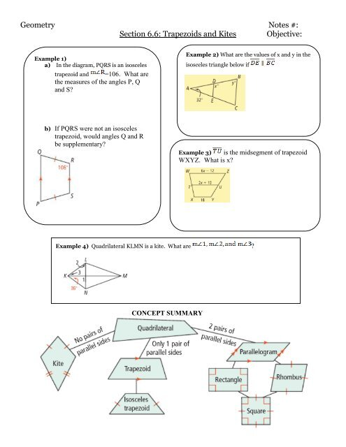 Geometry Notes #: Section 6.6: Trapezoids and Kites ...