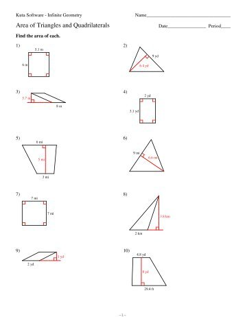 Area of Triangles and Quadrilaterals - Kuta Software