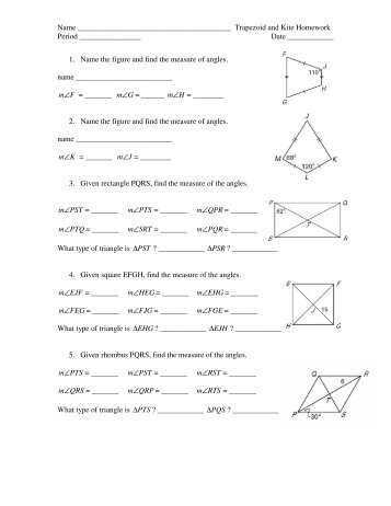 Trapezoids Review Worksheet