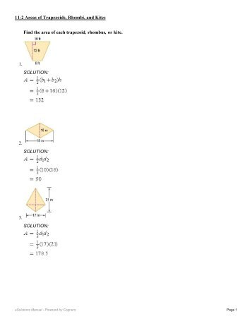 Geometry 8-2 Worksheet Find the area of each trapezoid, rhombus ...
