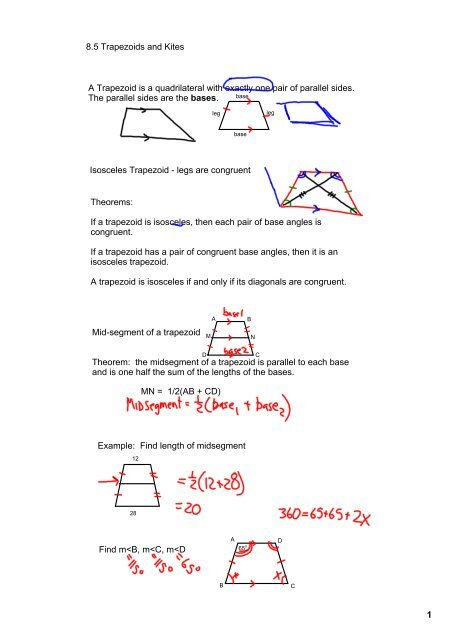 8.5 Trapezoids and Kites A Trapezoid is a quadrilateral with ...