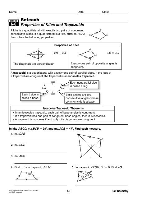 6-6 problem solving properties of kites and trapezoids answer key