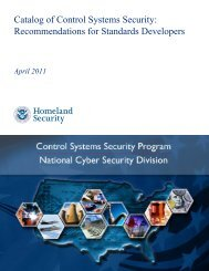Catalog of Control Systems Security: Recommendations for Standards Developers