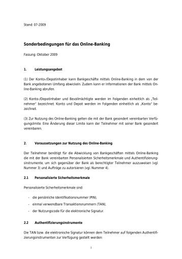 Sonderbedingungen Fã¼r Das Online Banking Raiffeisenbank
