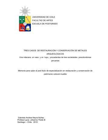 universidad de chile facultad de artes escuela de postgrado tres ...