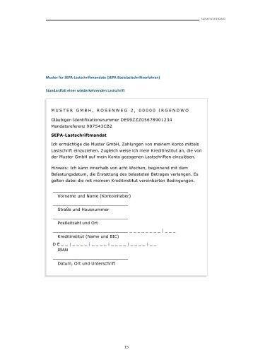 beispiel sepa lastschriftmandat pdf - Iban Muster