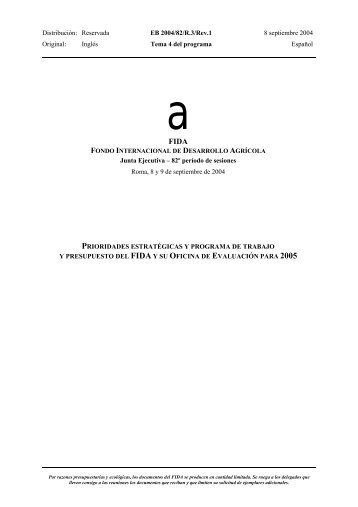 Distribución: Reservada EB 2004/82/R.3/Rev.1 8 septiembre 2004 ...