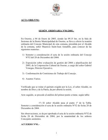 ACTA ORD.Nº01: SESIÓN ORDINARIA Nº01/2005. - Municipalidad ...