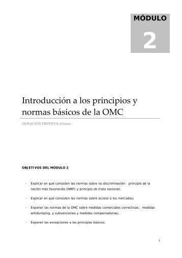 Introducción a los principios y normas básicos de la OMC