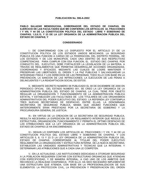Reglamento Interior De La Secretaria De Seguridad Y