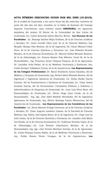 Acta 18-10x - Actas del Consejo Superior Universitario. Universidad ...