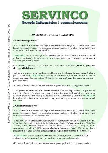 Condiciones de garantia - Servinco