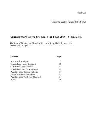 Annual report for the financial year 1 Jan 2005 - 31 Dec ... - Recipharm