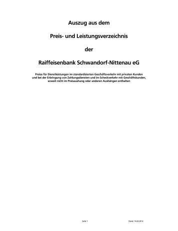 Preisverzeichnis - Raiffeisenbank Schwandorf-Nittenau eG