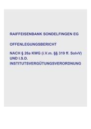Offenlegungsbericht 2011 - Raiffeisenbank Sondelfingen eG