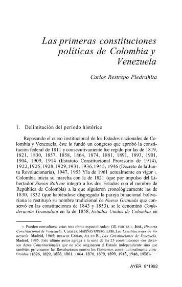 Las primeras constituciones políticas de Colombia y Venezuela