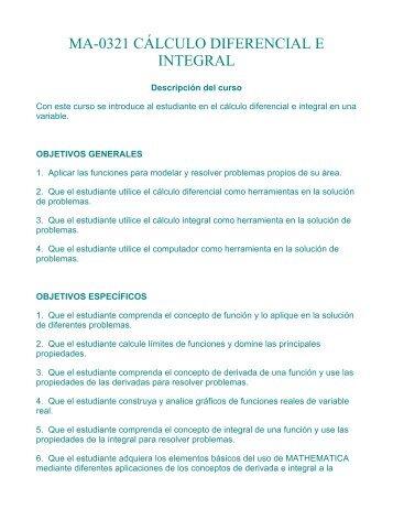 ma-0321 cálculo diferencial e integral - Universidad de Costa Rica