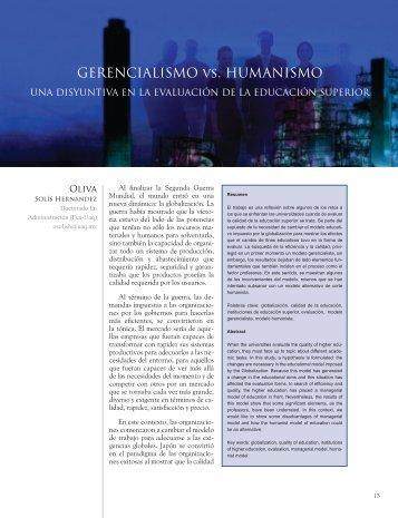 GERENCIALISMO vs. HUMANISMO - Universidad Autónoma de ...