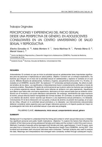 PERCEPCIONES Y EXPERIENCIAS DEL INICIO SEXUAL ... - SciELO