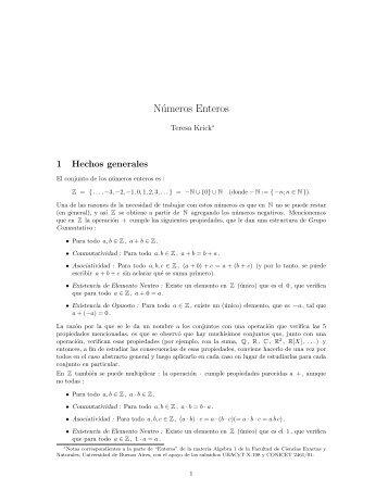 Números Enteros - Universidad de Buenos Aires