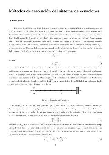 Métodos de resolución del sistema de ecuaciones - Ingeniería ...