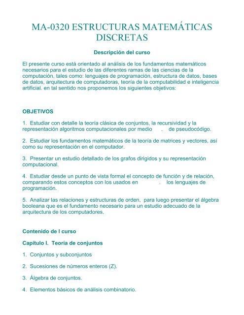 Ma 0320 Estructuras Matemáticas Discretas Universidad De