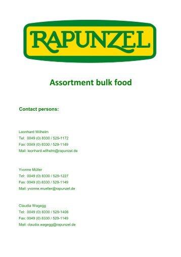 Range of RAPUNZEL raw materials as PDF (190 KB)