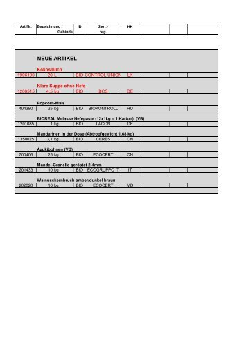 RAPUNZEL Rohstoff-Sortiment als PDF (106 KB)