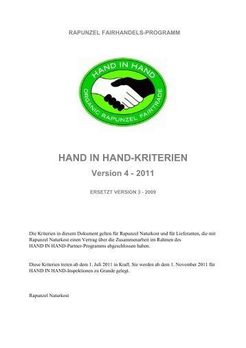 HAND IN HAND-KRITERIEN - Rapunzel Naturkost AG