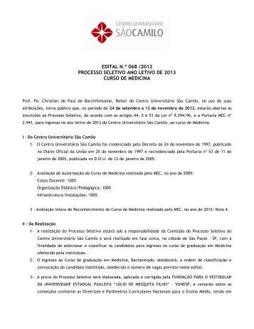 Edital nº 068 /2012 Processo Seletivo Ano Letivo de ... - São Camilo