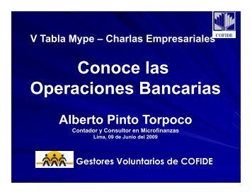 Conoce las Operaciones Bancarias Operaciones Bancarias - Cofide
